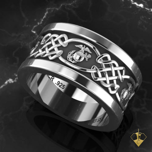 "USMC Celtic EGA Wedding Band ""Made by Marines for Marines"""
