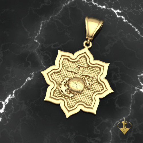 USMC EGA in 8 Point Star Gold Pendant  10k Gold