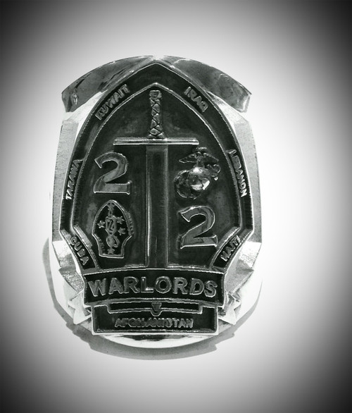 Marine 2nd Battalion 2nd Marines Warlords in Sterling Silver