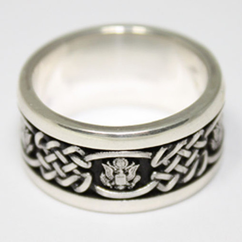 Air Force Wedding Band in Solid Sterling Silver with Great Seal of the United States.