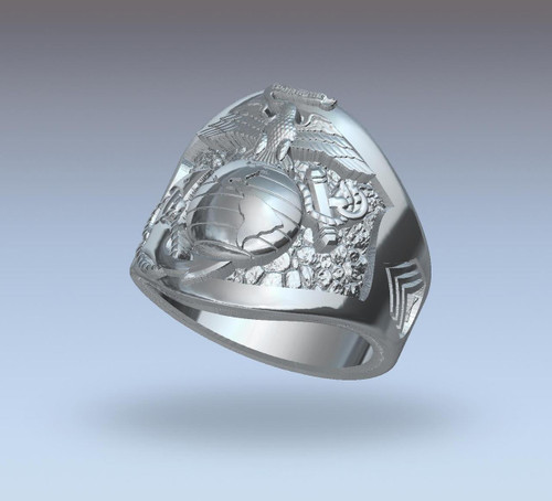 4th Recon  Battalion Silver Men's Ring