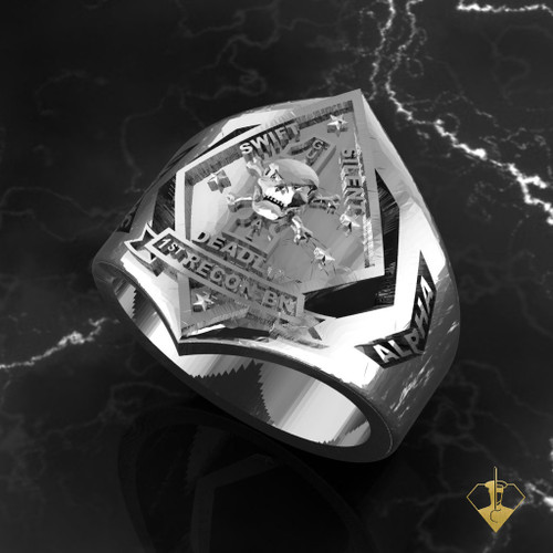 1st BN Recon Marine Ring White Gold or Silver