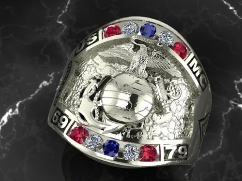 White Gold Custom Marine Ring, rubies, diamonds, sapphires