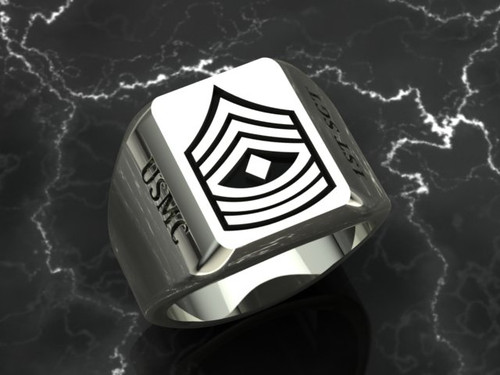 1st Sergeant Signnet Ring White Gold or Silver