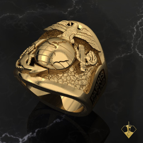 USMC Parris Island Graduation Yellow Gold Ring