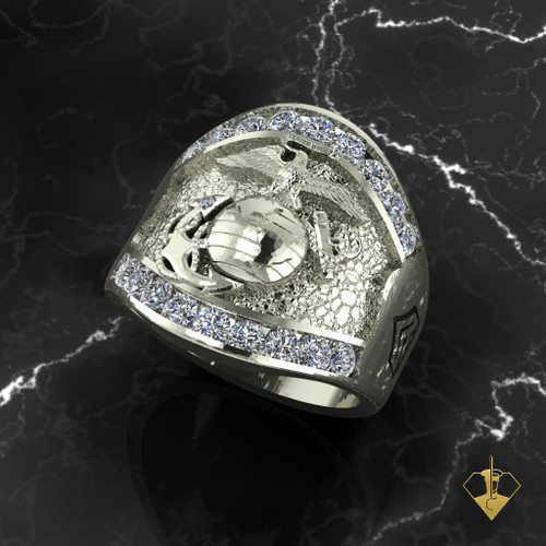 Magnificent Marines Moissanite Ring 10K White Gold