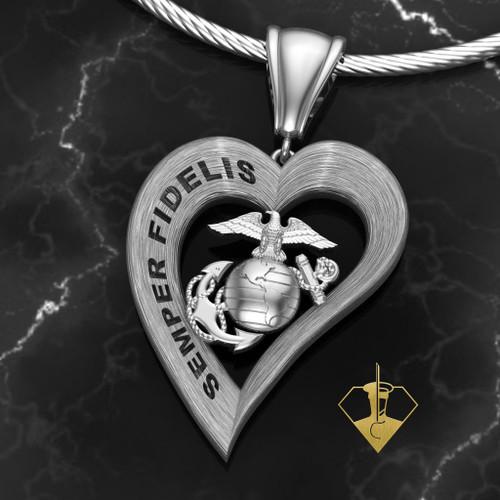 SEMPER FIDELIS Heart Pendant in Sterling Silver
