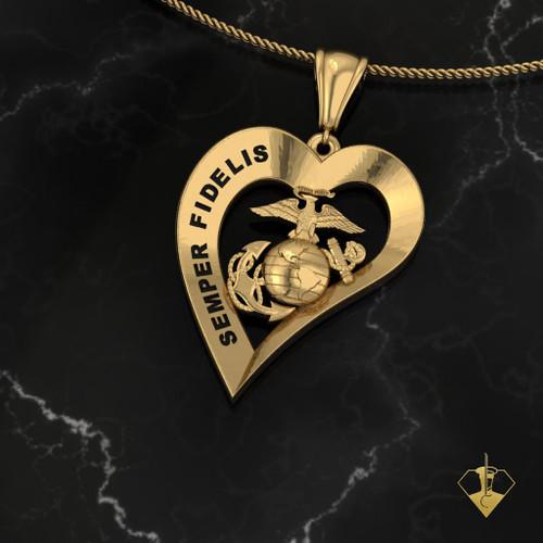 SEMPER FIDELIS Yellow Gold Heart Pendant