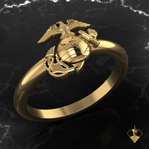 WOMAN MARINES EGA RING YELLOW GOLD