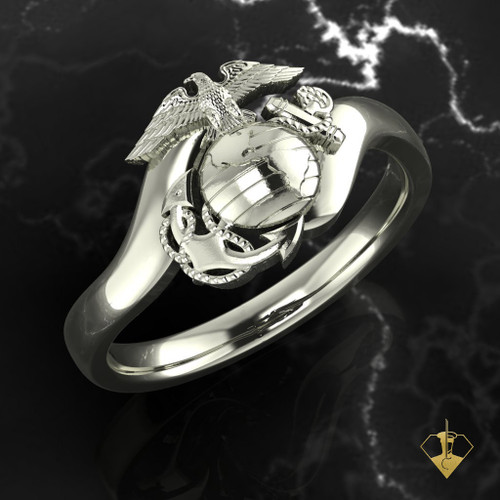 EGA ring perched upon silver or white gold arms