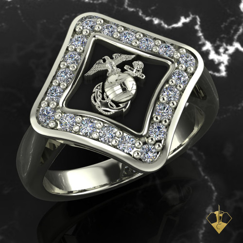 Silver or White Gold Woman Marines EGA Ring surrounded by Diamonds