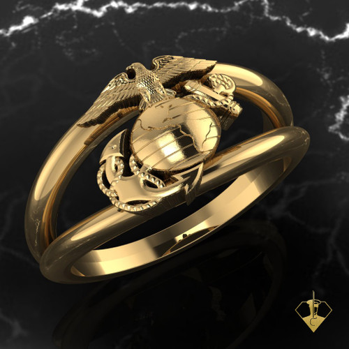 EGA Double Band  Yellow Gold Woman Marines Ring