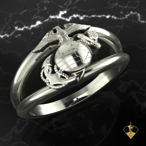 EGA Double Band Sterling Silver or White Gold Woman Marines Ring