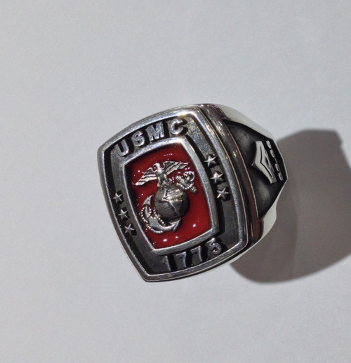 USMC 1775 Silver Ring with Rank on the side.