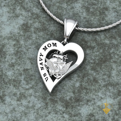 """US ARMY MOM HEART PENDANT w/18"""" Sterling Silver Chain available in Sterling, 10k, 14k and 18k white or yellow gold  """"Made by Veterans for Veterans"""""""