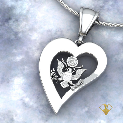 """US AIR FORCE HEART PENDANT PLAIN  w/18"""" Sterling Silver Chain available in Sterling, 10k, 14k and 18k white or yellow gold """"Made by Veterans for Veterans""""  100% Satisfaction Guaranteed"""