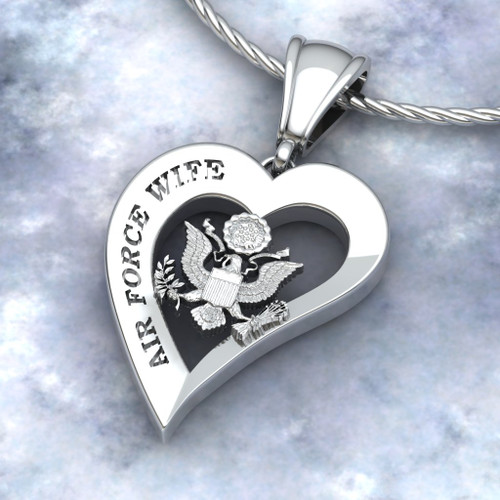 """US AIR FORCE WIFE HEART PENDANT w/18"""" Sterling Silver Chain available in Sterling, 10k, 14k and 18k white or yellow gold """"Made by Veterans for Veterans""""  100% Satisfaction Guaranteed"""