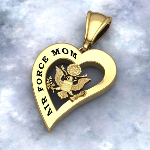 """US AIR FORCE MOM HEART PENDANT 10K GOLD Sterling, 10k, 14k and 18k white or yellow gold """"Made by Veterans for Veterans""""  100% Satisfaction Guaranteed"""