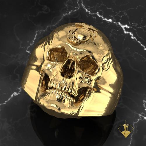 USMC SKULL EGA 14K YELLOW GOLD RING