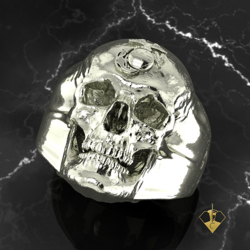 USMC SKULL EGA 14K WHITE GOLD RING