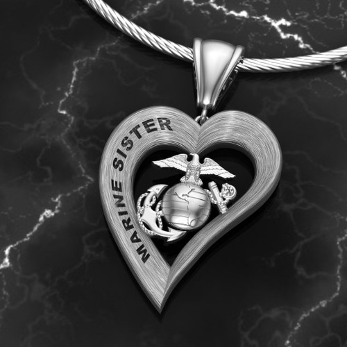 """Marine Sister Heart Diamond Etched Pendant w/18"""" Sterling Silver Chain also available in 10k, 14k and 18k white or yellow gold """"Made by Marines for Marines""""   100% Satisfaction Guaranteed"""