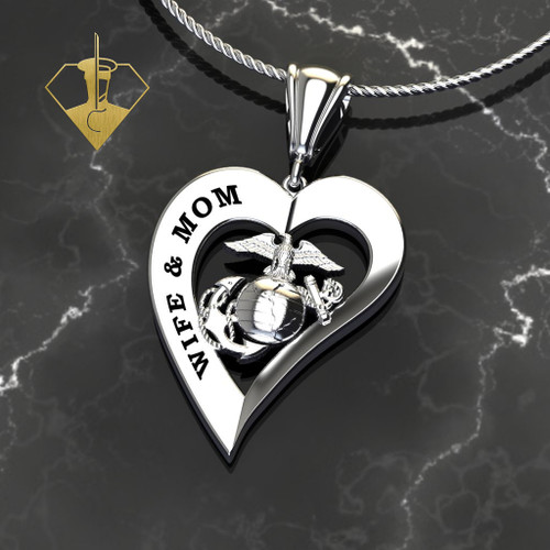 "WIFE & MOM MARINE HEART PENDANT  w/Diamond Etching and 18"" Rope Chain"