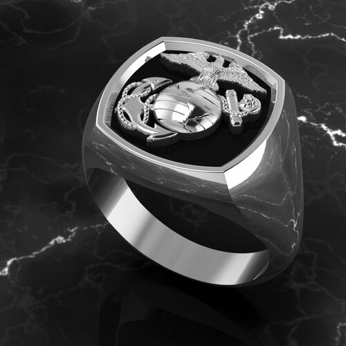 Beautiful Marine Signet Ring  in Sterling Silver
