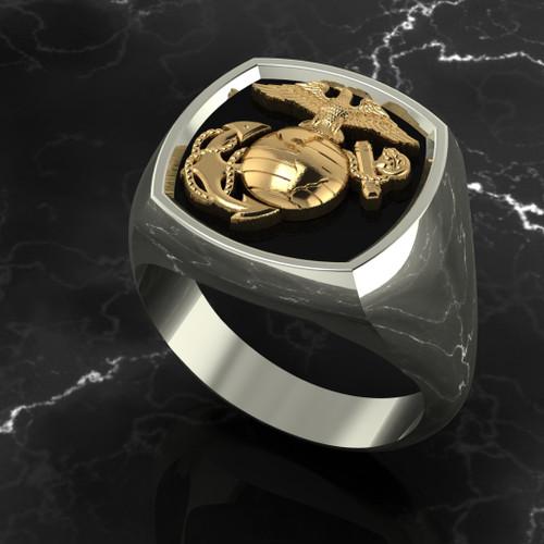 Marine Signet ring  10k Yellow Gold on top of 10k White Gold