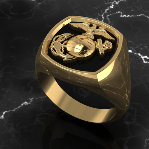 United States Marine Corps Signet 10k Yellow Gold Ring Made by Marines for Marines in the USA!