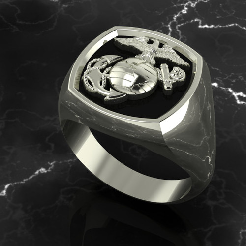 United States Marine Corps Signet 10k White Gold Ring Made by Marines for Marines in the USA!