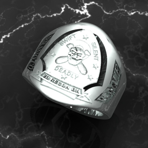 2nd Force Recon Solid 10k White Gold Made by Marines for Marines