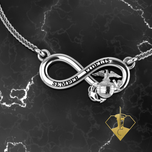 """Infinity Semper Fidelis Pendant in Solid Sterling Silver with 18"""" Sterling Silver Chain"""