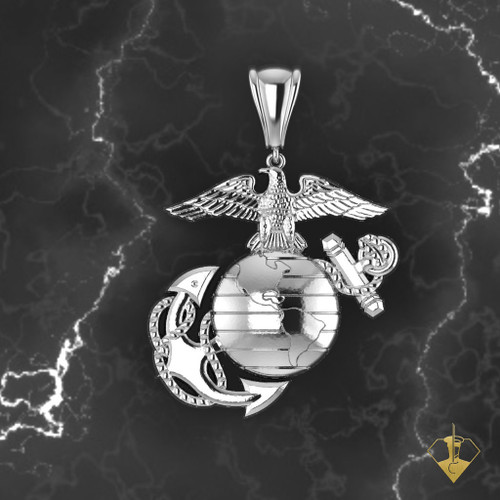 """3/4"""" EAGLE GLOBE AND ANCHOR PENDANT WITH 18"""" CHAIN"""