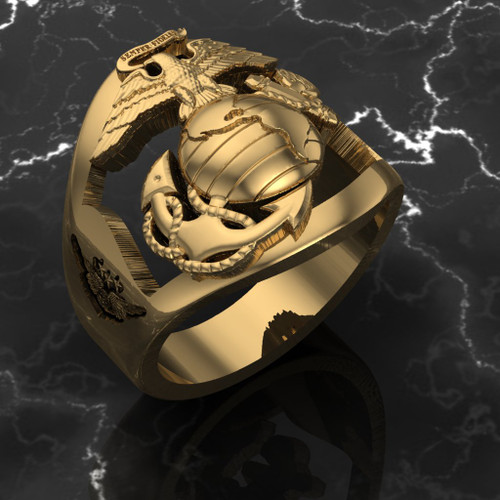 HMH-462  Marine Air Combat ring in solid 10k Gold