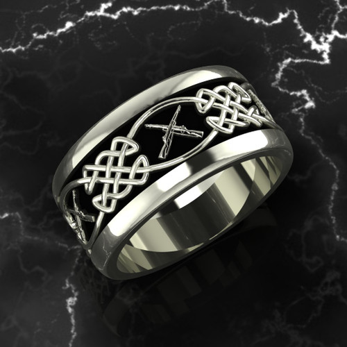 """Celtic Weave with Crossed Rifles The band is comfort fit and 11 mm wide. Black background.  """"Made by Marines for Marines"""" Available in Sterling Silver, 10k, 14k and 18k White or Yellow gold.   100% Satisfaction Guaranteed"""