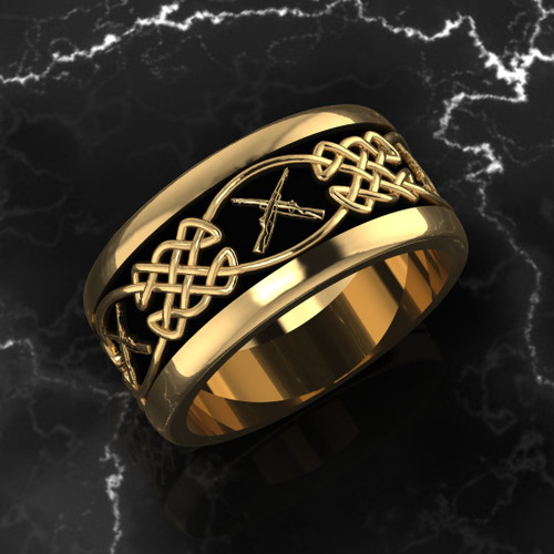 "Celtic Weave with Crossed Rifles The band is comfort fit and 11 mm wide. Black background.  ""Made by Marines for Marines"" Available in Sterling Silver, 10k, 14k and 18k White or Yellow gold.   100% Satisfaction Guaranteed"