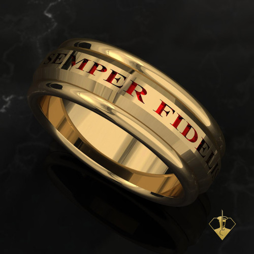 "USMC Marines Semper Fidelis Band  The stunning Semper Fidelis top and bottom  The band is comfort fit and 7.5 mm wide. Your choice of black or red background.   ""Made by Marines for Marines""    Available in Sterling Silver, 10k, 14k and 18k White or Yellow gold.   100% Satisfaction Guaranteed"