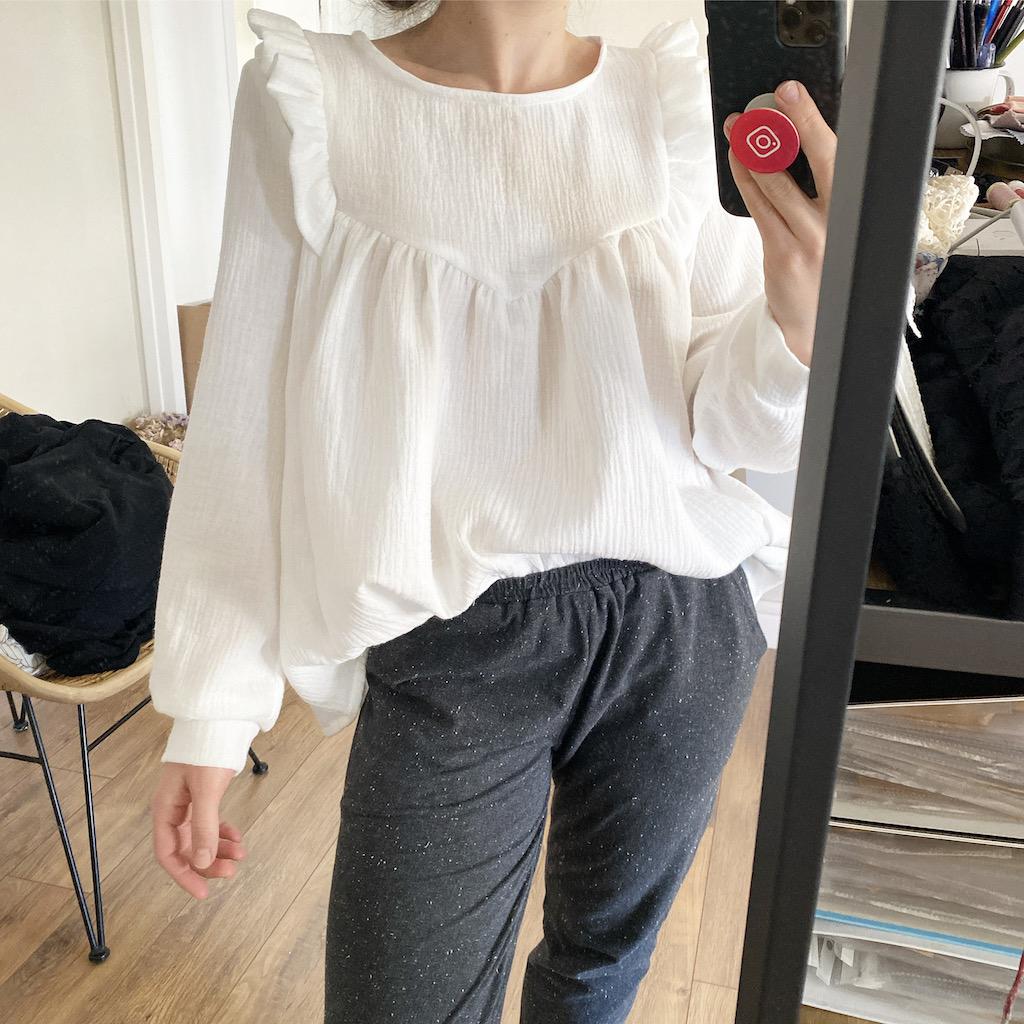 Je mesure 1m55 et porte la blouse en T36 manches longues - Double Gaze blanc
