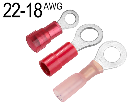 Heat Shrink Ring Terminals with Adhesive Liner Red Ring Size: #10 Screw 22-16AWG 10 Pieces
