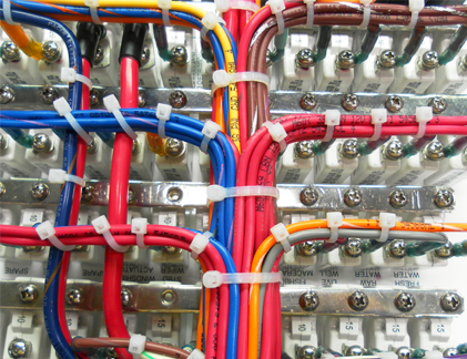 Pacer Group Marine Wire Colors in use on a Panel