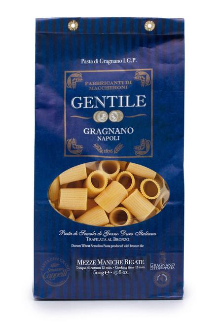 Pasta Mezze Maniche rigate,  Gentile, Gragnano-Napoli, 1.1 lb (500 g)
