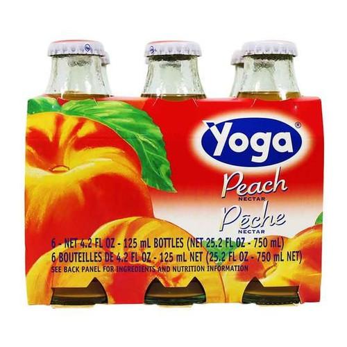 Peach Nectar, Yoga, Italy, 6 Bottles x 4.2 fl oz each (125 ml each)