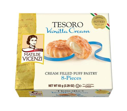 vanilla cream filled puff pastry, tesoro, italy, 2.29 oz (65 g)