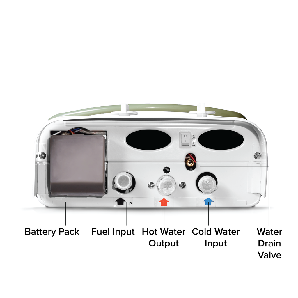 Eccotemp CE-L5 Portable Outdoor Tankless Water Heater Bottom View with callouts