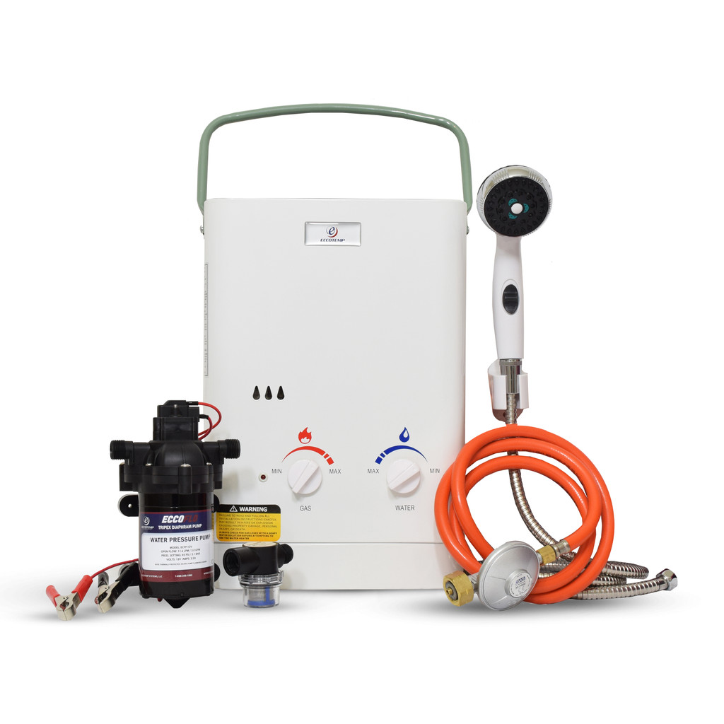 Eccotemp CEL5 Portable Tankless Water Heater w/ EccoFlo 12V Pump and Strainer, 50mbar
