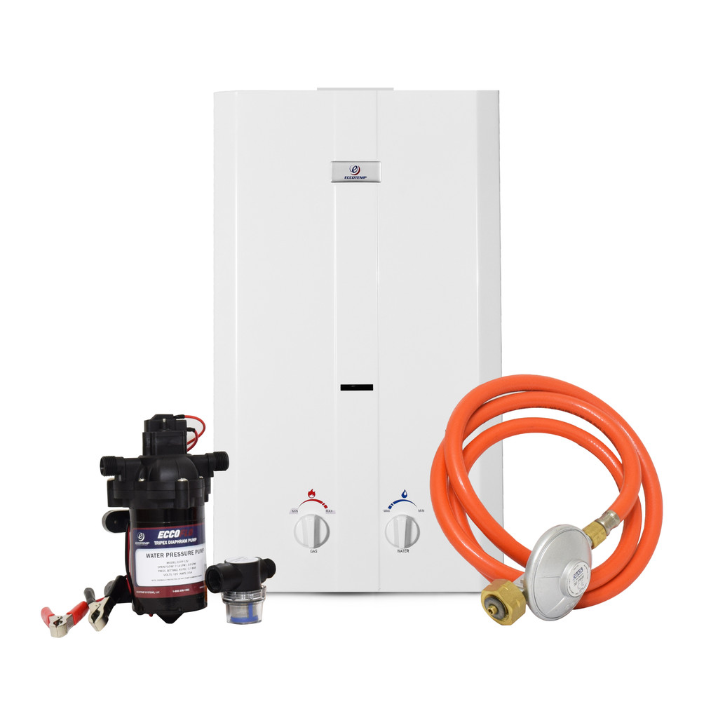 Eccotemp CE-L10 Portable Outdoor Water Heater w/ EccoFlo Diaphragm 12V Pump and Strainer, 50 mbar