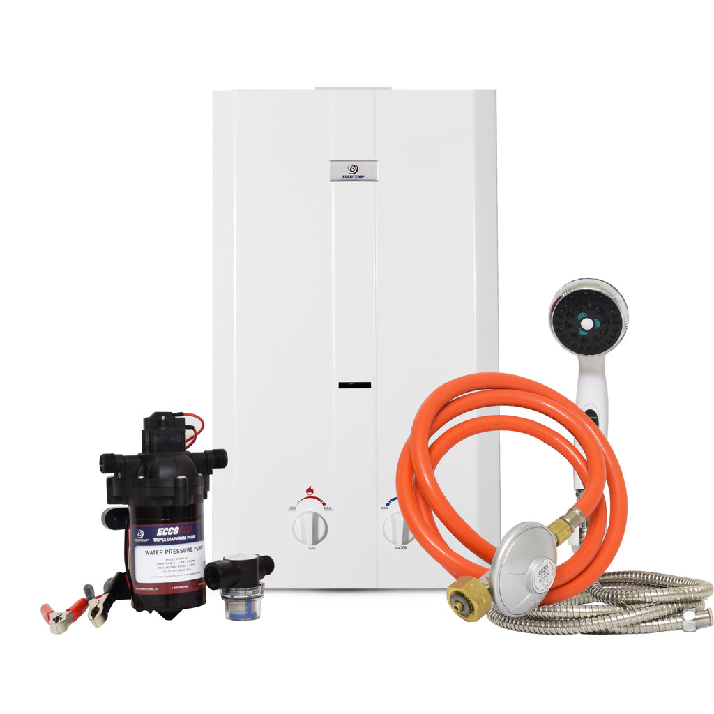 Eccotemp CE-L10 Portable Outdoor Tankless Water Heater w/ EccoFlo Diaphragm 12V Pump , Strainer & Shower Set, 30 mbar