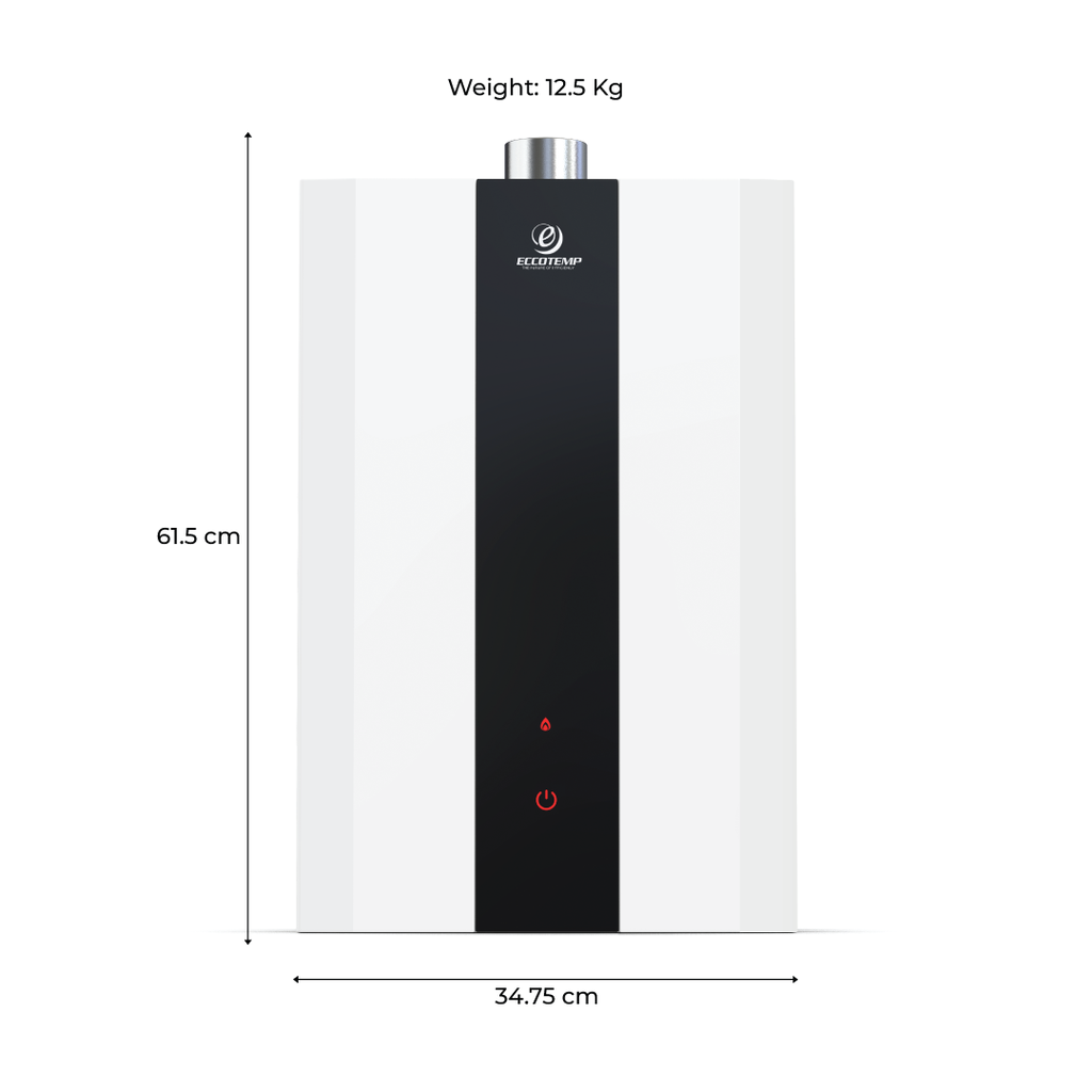 SH12 Smart Home 15 LPM Indoor Liquid Propane Tankless Water Heater dimensions and weight front view