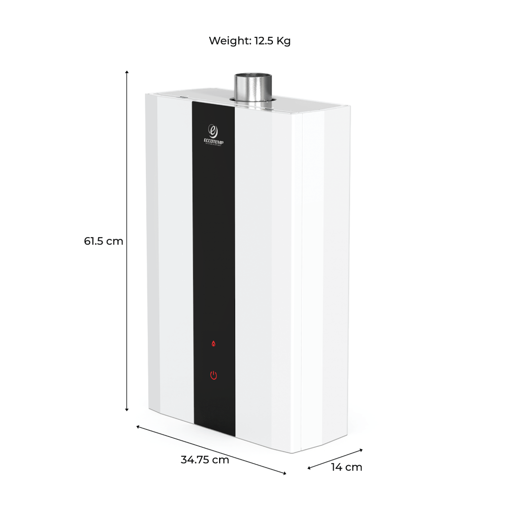 SH12 Smart Home 15 LPM Indoor Liquid Propane Tankless Water Heater dimensions and weight slightly rotated