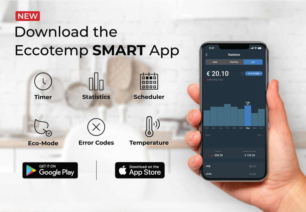 SH12 Smart Home 15 LPM Indoor Liquid Propane Tankless Water Heater with voice commands and the Eccotemp Smart App download